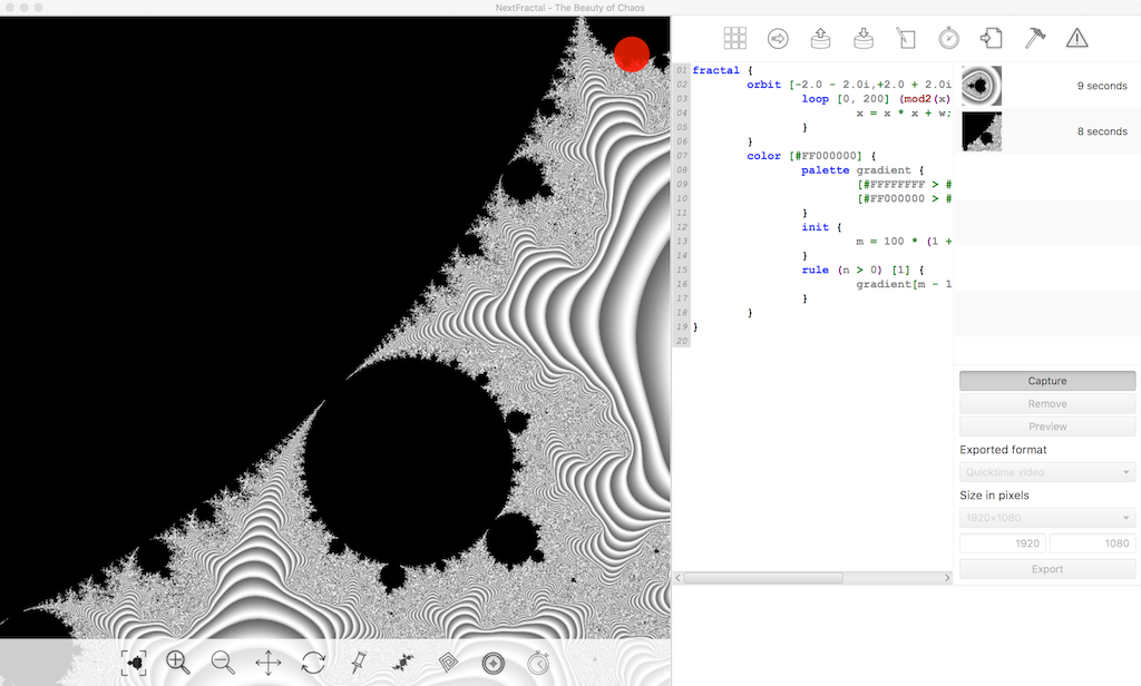 Screen shot showing NextFractal