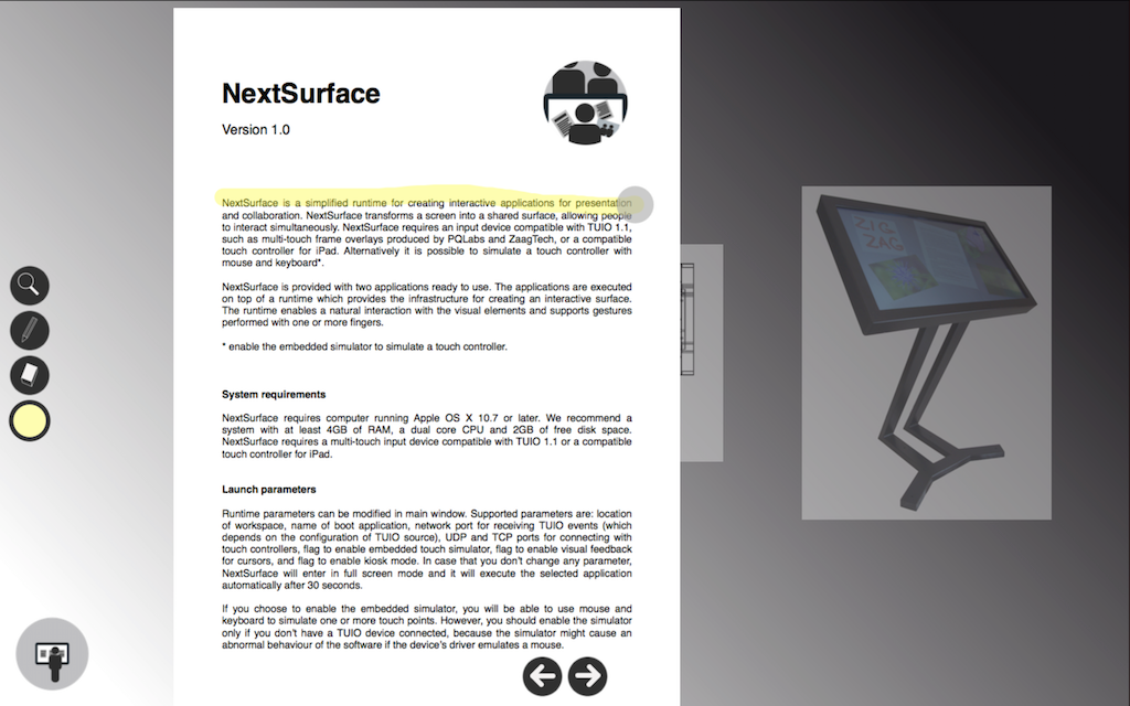 Screen shot showing a PDF document in NextSurface